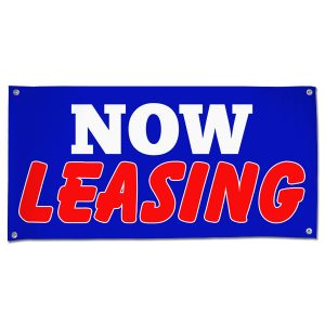 Perfect for real estate, lease your space and get the word seen with this 4x2 blue Now Leasing banner