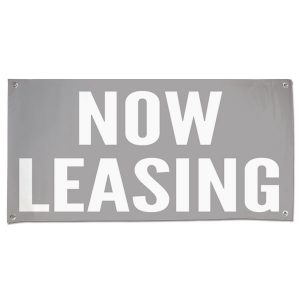 Low impact Now Leasing banner perfect for a shopping center or office space size 4x2