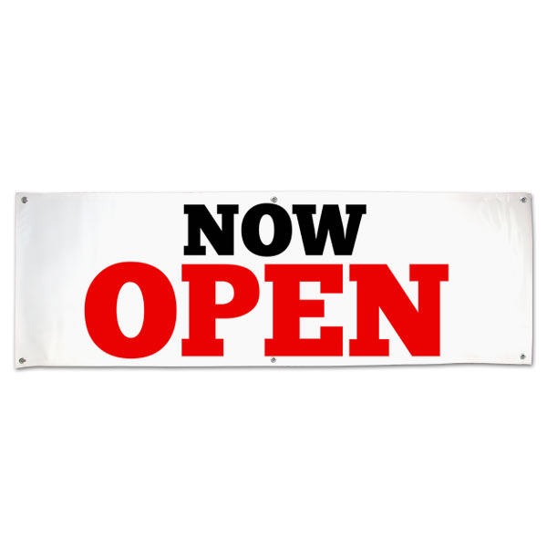 Market your newly opened business with a bold vinyl Now Open Banner size 6x2