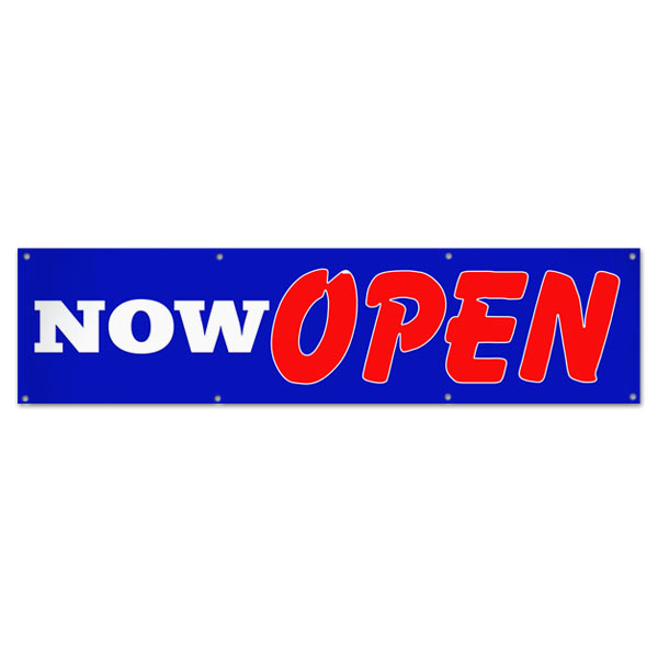 Let the word out and get customers in your door with a bright bold Now Open Sales Banner size 8x2