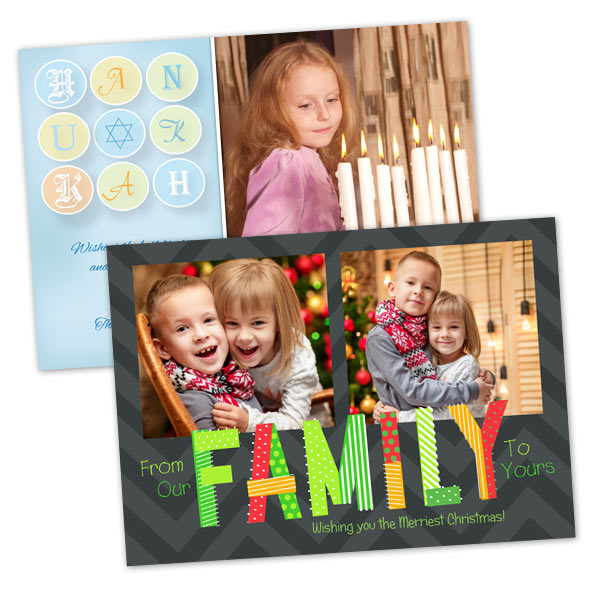 Christmas photo cards hanukkah greetings print shop create your holiday and hanukkah photo cards with print shop 5x7 glossy cards m4hsunfo
