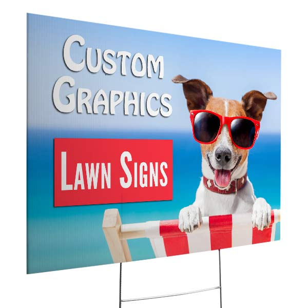 Create your own marketing signs with Print Shop lawn signs for your business
