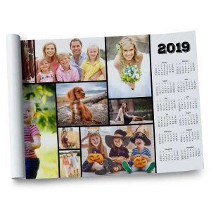 Create a 12x18 year at a glance poster size calendar using your own photos