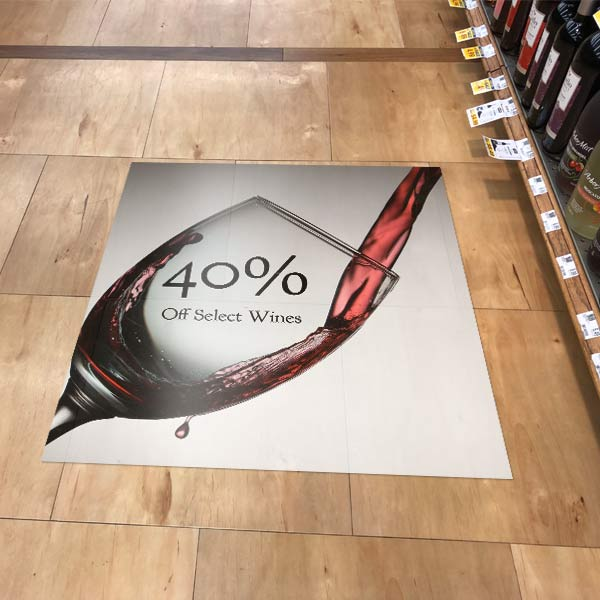 Stick a floor graphic down on the floor of your store and market products and Ideas to your customers