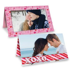 Custom folded photo cards with photos for Valentines Day