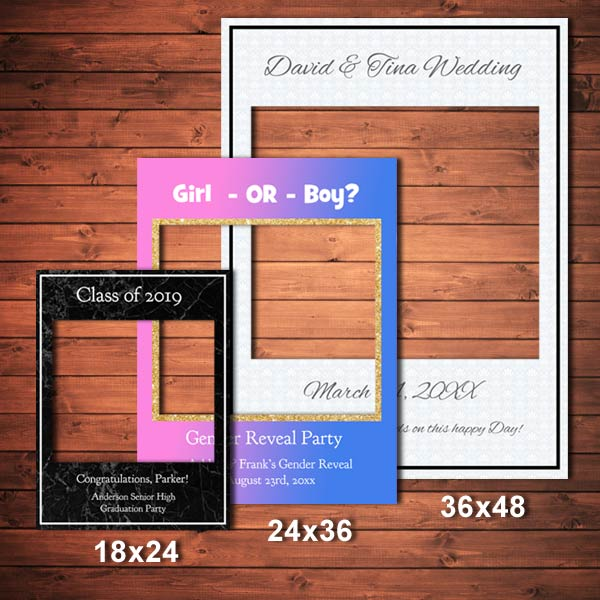 Customize a selfie frame for your party, event or reception and let your guest have fun sharing