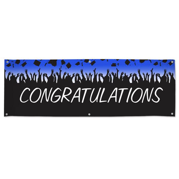 Brighten up your graduation party with a vinyl Congratulations Banner