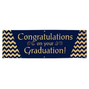 Add class to your graduation party with a blue and gold glitter Congratulations banner