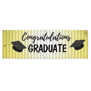 Classic Black Cap on gold Graduation banner for Parties and events