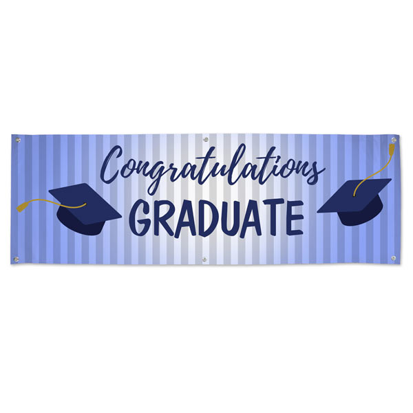 Congratulate your graduate with a blue themed banner for a graduation party