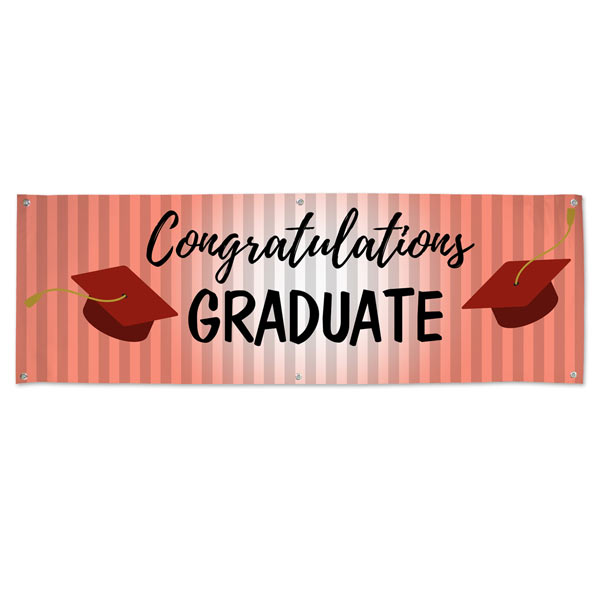 Throw your graduation party in style with a Red themed graduation banner