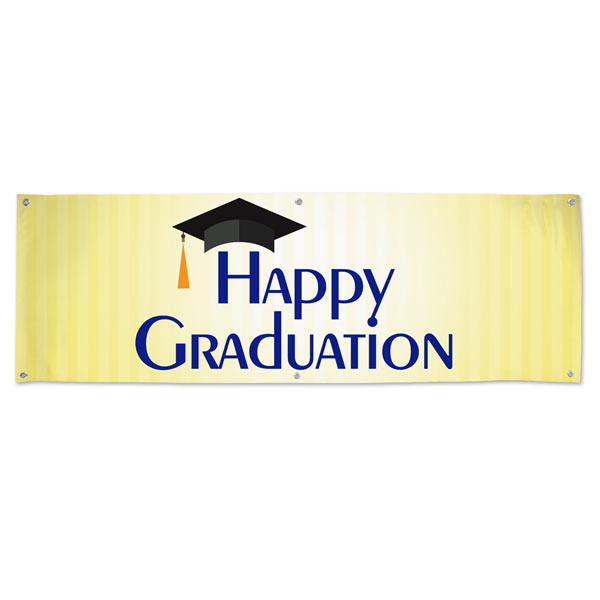 Add color to your graduation event with a bright Happy Graduation Banner