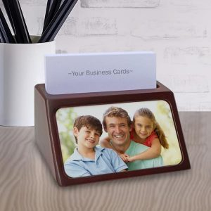 Create your own business card holder using photos and text and brighten up your desk