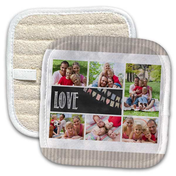 Use your own photos and create a custom pot holder or a set for your home