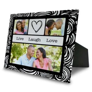 Easel back canvas with multiple designs and photo collage options for your memories.