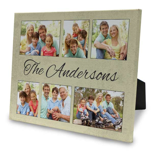 Designer easel back canvas offer many photo collage options to display your photos.