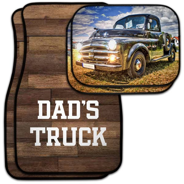 Create a custom gift for dad, personalized car floor mats for his car or truck