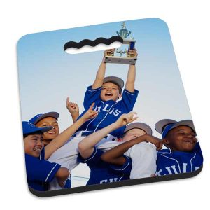 Support your team with a photo personalized stadium seat cushion