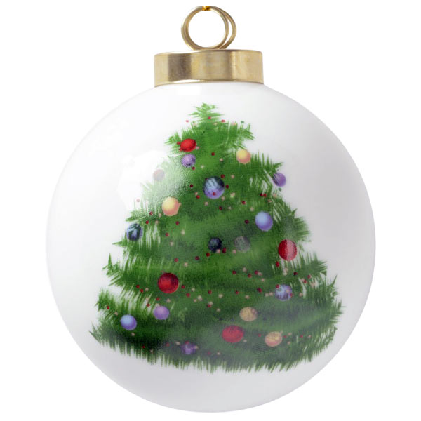 Holiday ball photo ornament with hand painted Christmas tree artwork