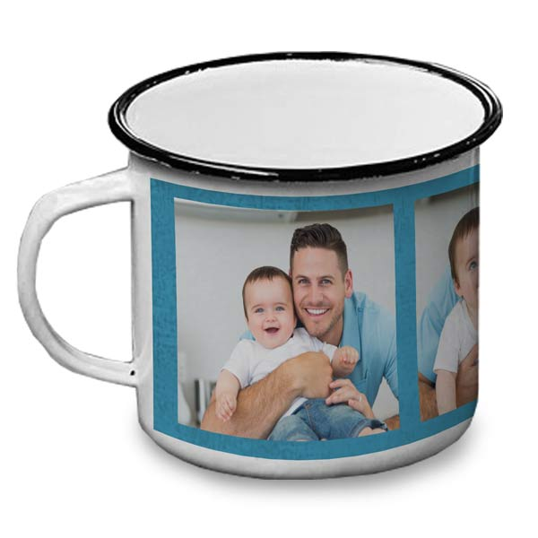 A great gift for any adventurer, create a personalized enamel camp mug with photos and text