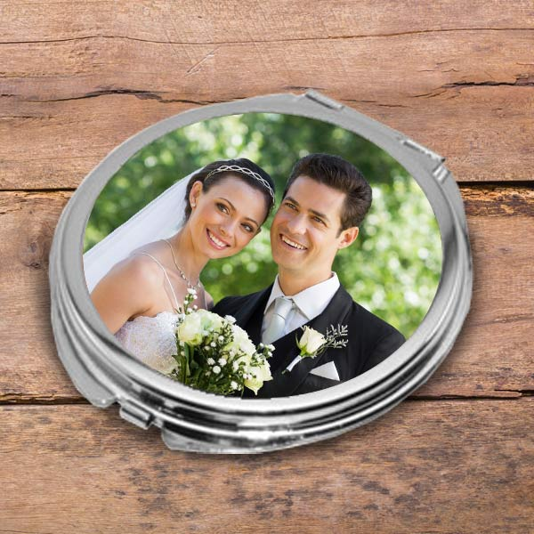 Add your photo to a double sided compact mirror, the perfect personalized gift