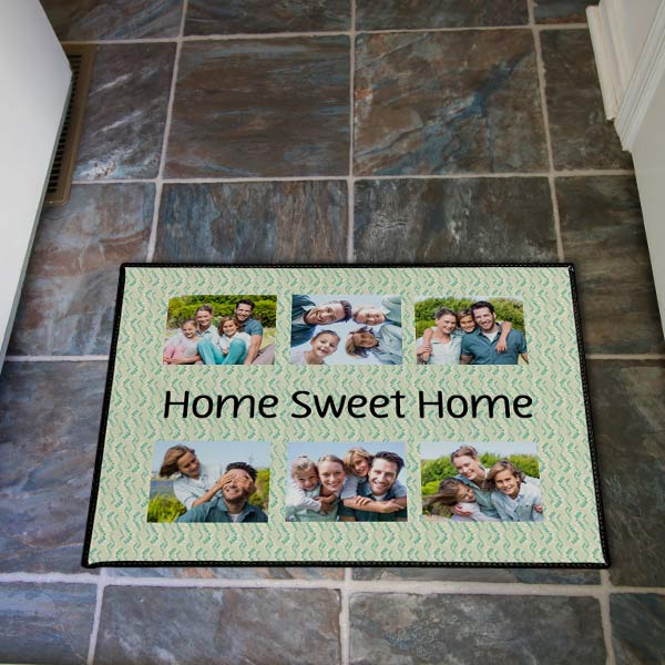 Brighten your entry way with a custom door mat featuring your own photos and text