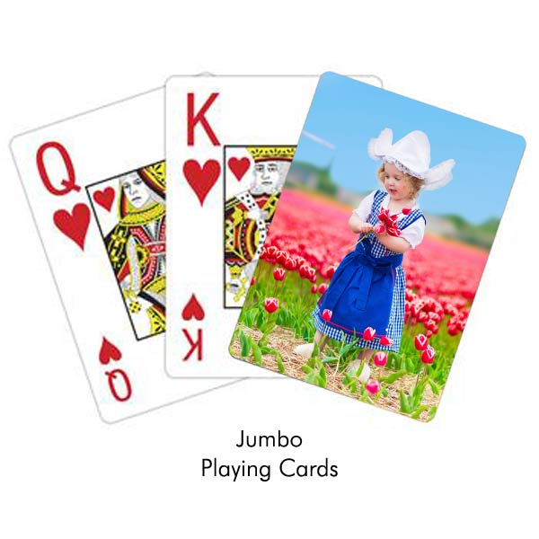 Create your own photo personalized playing cards with jumbo print so they are easy to read