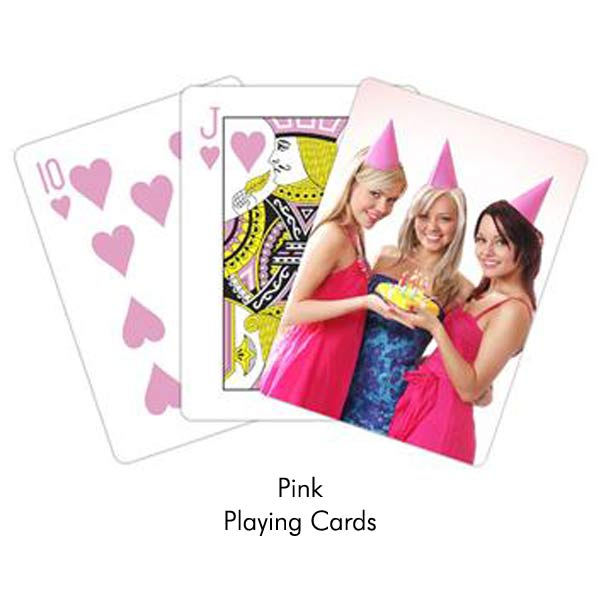 Great for parties and events, create your own pink playing cards with a photo and text