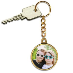 Create a personalized key chain to keep your keys together with a custom antique gold key ring