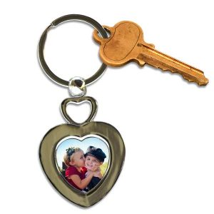 Add a picture and create your own personalized key chain with double hearts and a photo