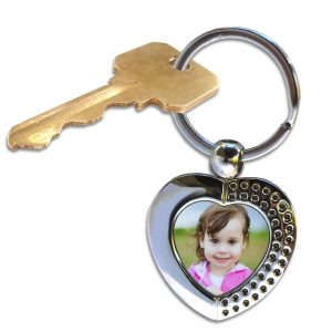 Add your own picture to personalize a designer heart key ring perfect for anyone