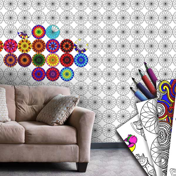 Add colorful flare to your room with coloring wallpaper and have fun coloring.