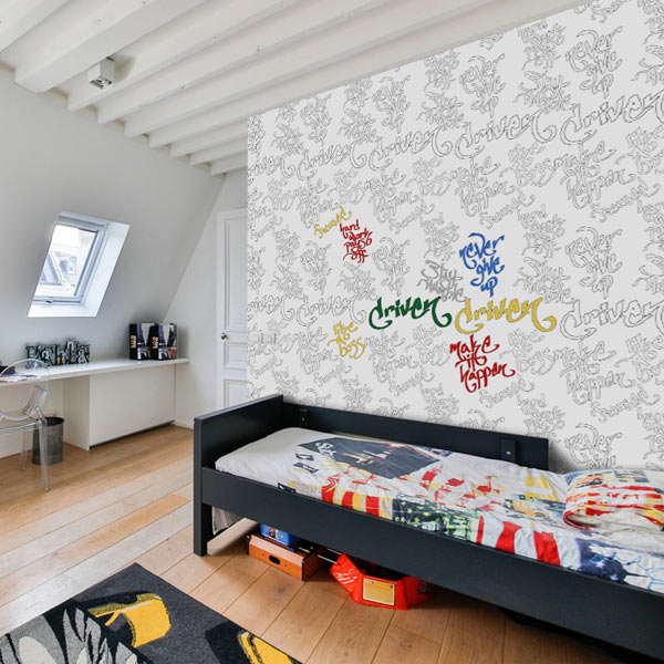 Add personality to your room with coloring wallpaper and color your own walls