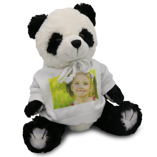 Cute stuffed panda bear with custom pullover sweatshirt
