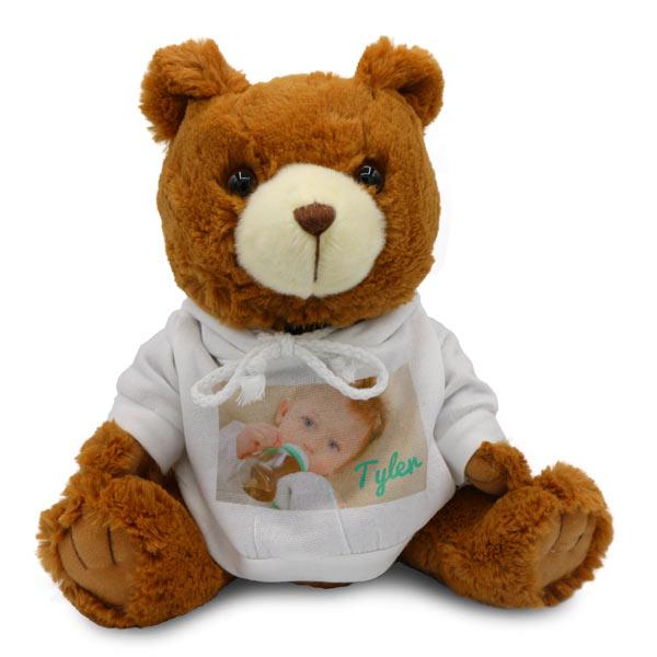 Photo personalized teddy bear with custom sweatshirt