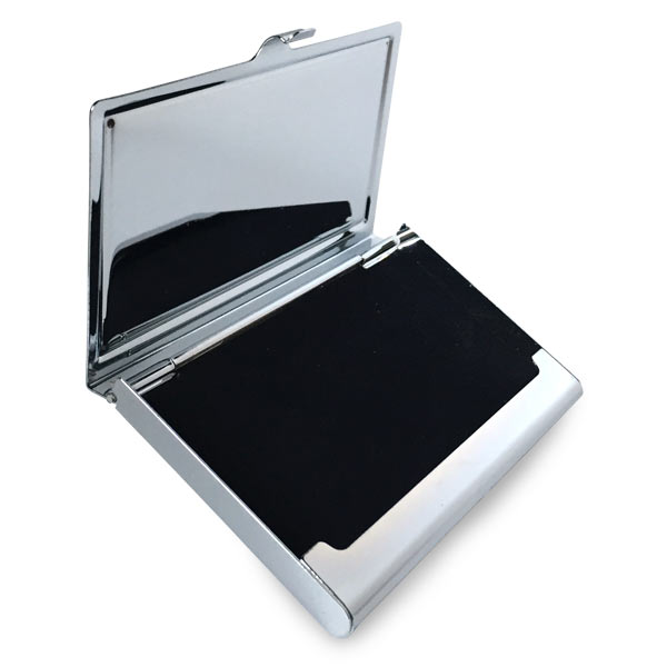 Add a photo or logo to your personalized business card case with velvet like lining inside