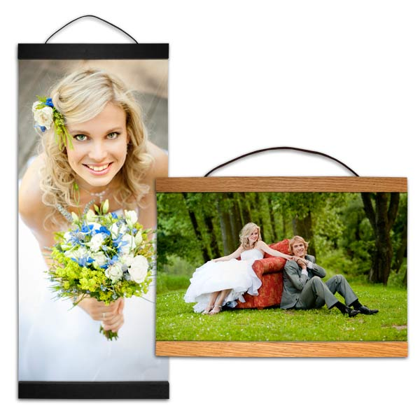Create a unique canvas wall hanging out of your photos with hanging canvas