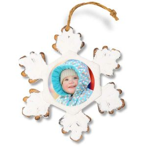 Wood and worn away paint rustic looking snowflake photo ornament