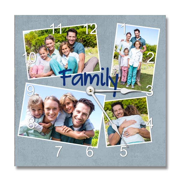 Choose your own background, photos and add optional text to create a beautiful photo clock for your home or office