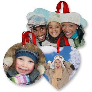 Glossy photo ornaments are crisp and clear and display your photos brilliantly