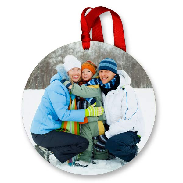 Circle shaped glossy photo ornaments are great for hanging on your tree