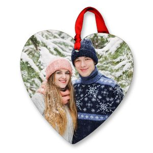 Create a heart shaped ornament with a photo of someone you care about for the holidays
