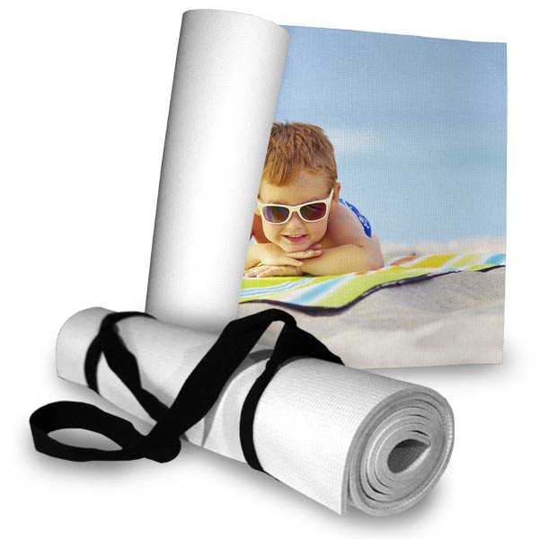 Custom photo beach mats are perfect for the beach and easily roll up and can be carried with a strap