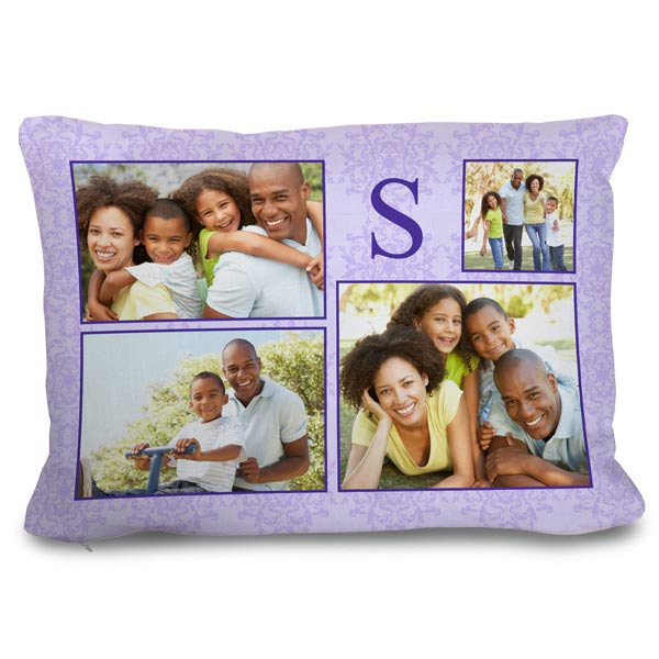 Design your own 14x20 rectangle couch pillow adding photos and create a photo collage