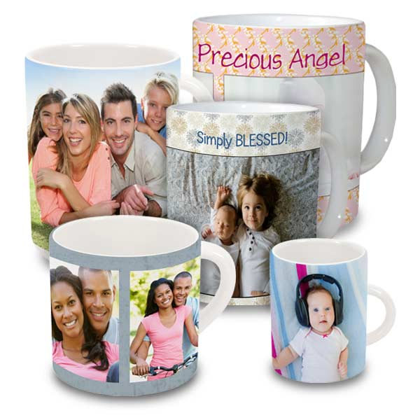 Photo mugs of all sizes are ready for you to customize with photos and text