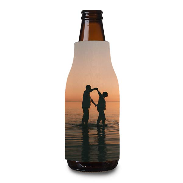 Add your photo to a custom bottle cooler to keep your drink cool