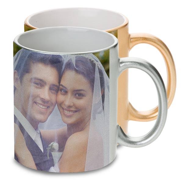 Elegant metallic mugs are great for wedding and anniversaries