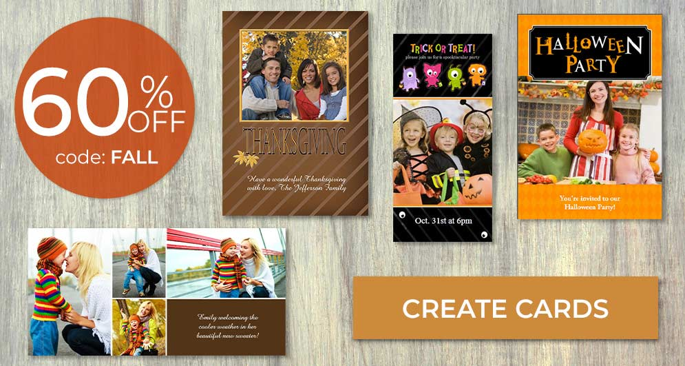 Save on fall and Halloween Cards